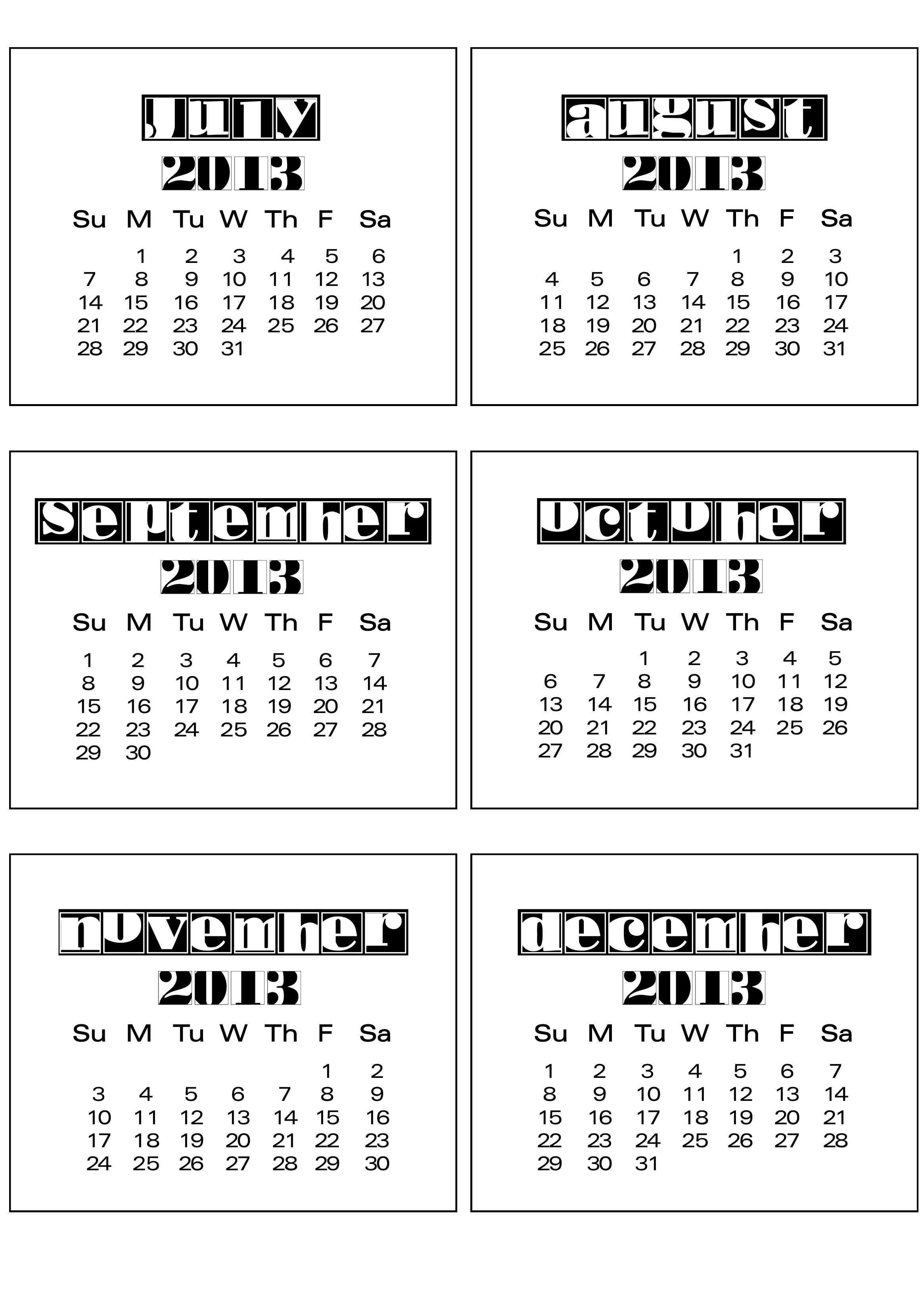 Calendar June To December : Calendar bits scrappystickyinkymess