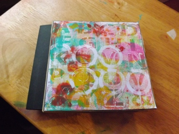 I made a paper bag book, covering the bags with 6x6 Gelli prints