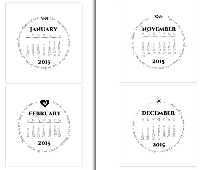 More Calendars - circular, quotes, different start days