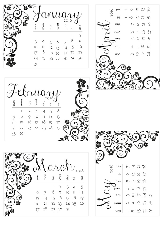 Blank Calendar Clipart Black And White : B w floral calendar by request scrappystickyinkymess