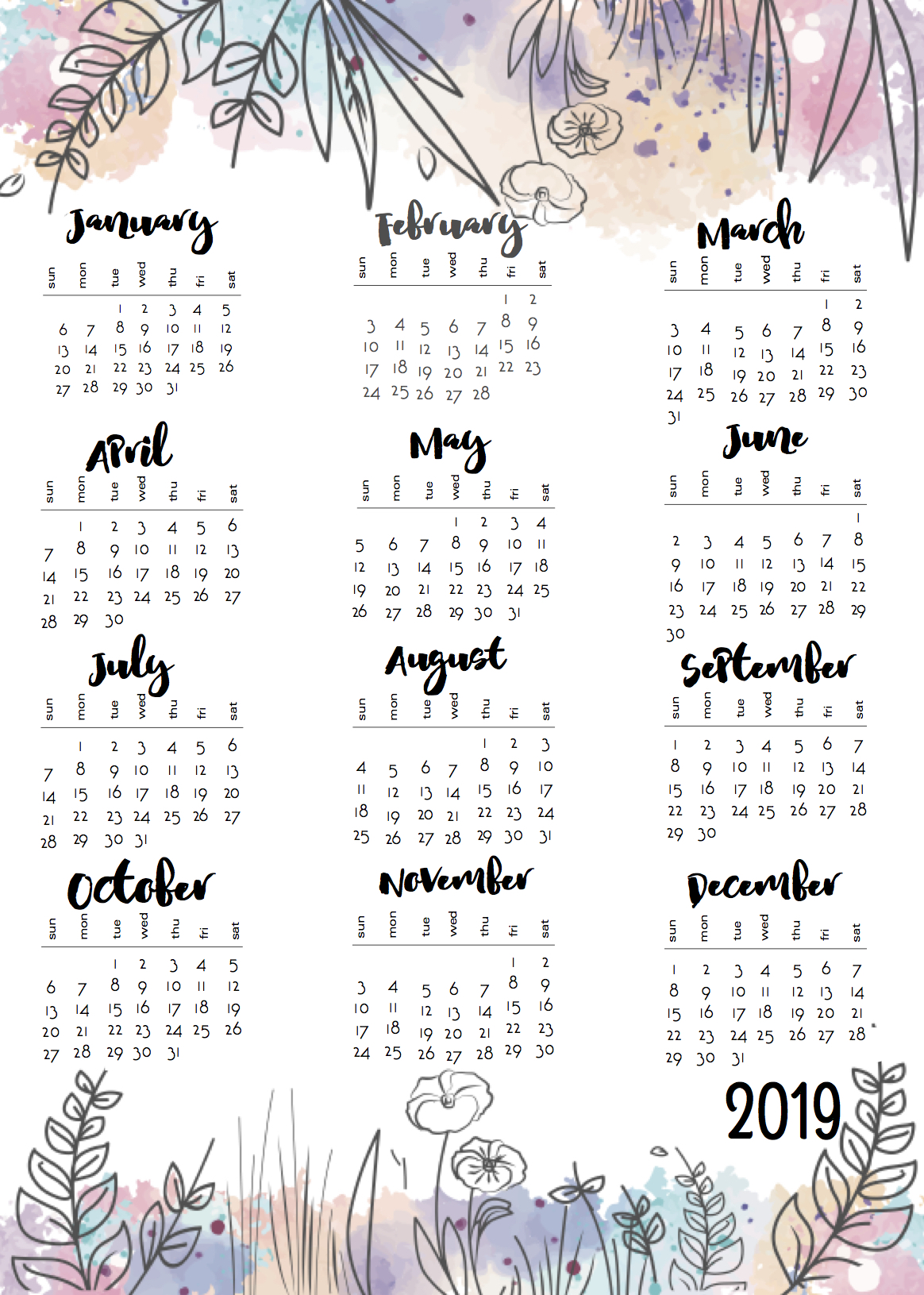 one sheet calendars for 2018 and 2019 scrappystickyinkymess