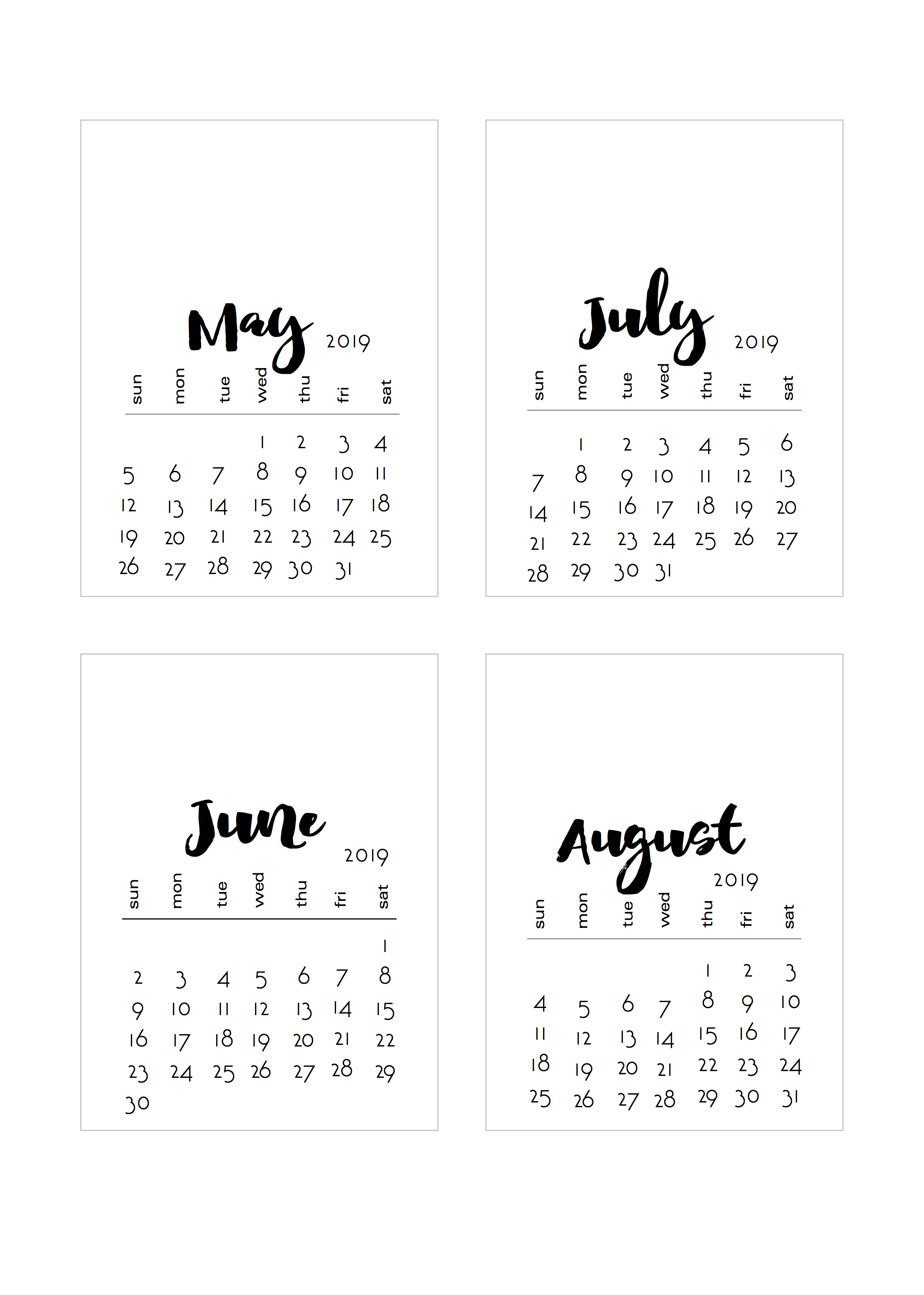 Calendar Cards 2019 2019 WIDEtop and NO BOX Project Life sized calendar cards