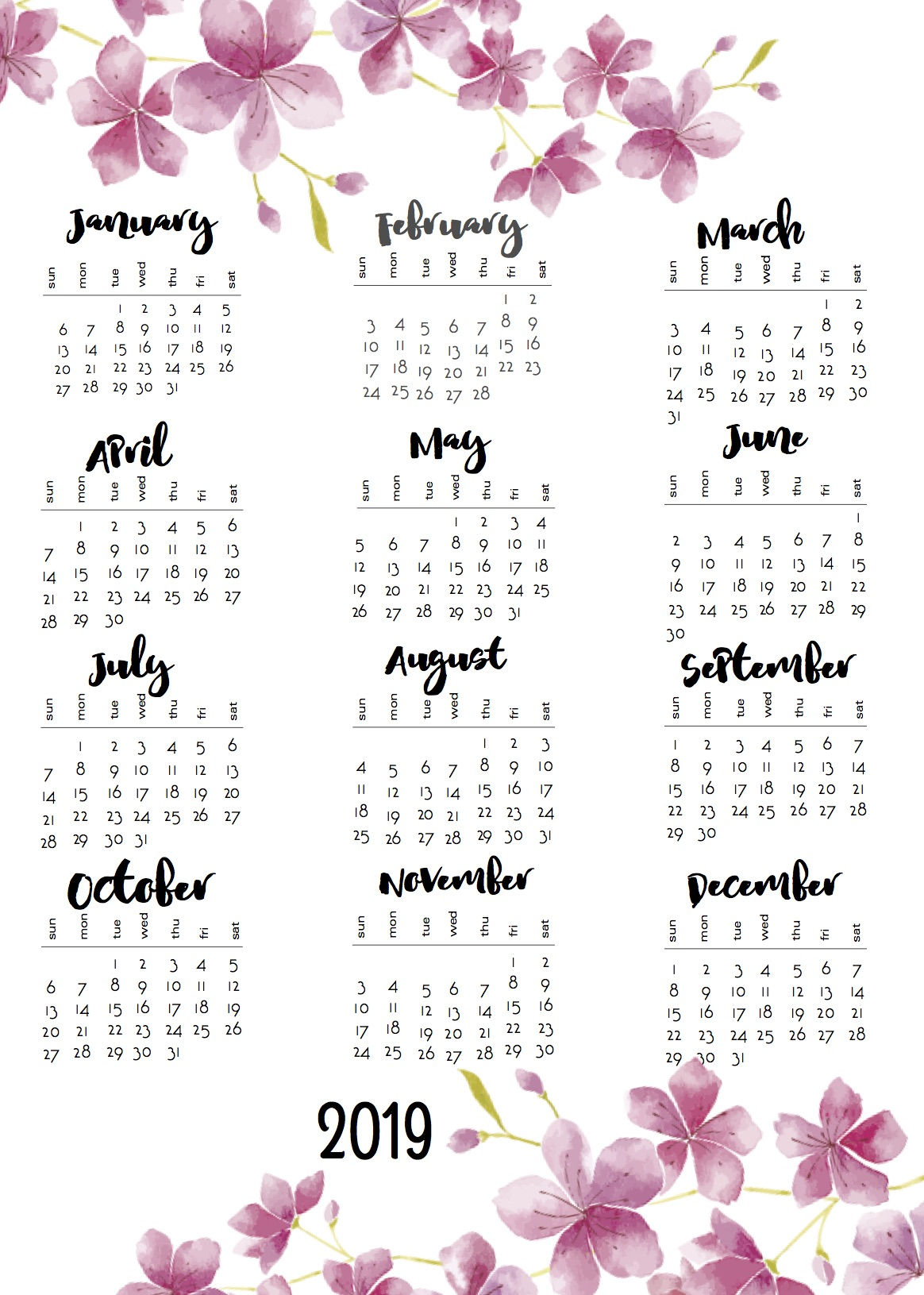 12 Month Calendar 2019 On One Page