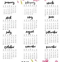 2019 Calendars