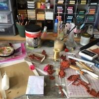 WOYWW 635 - tidy again, and my glue holder hack